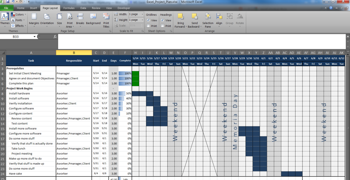 an excel project planning spreadsheet